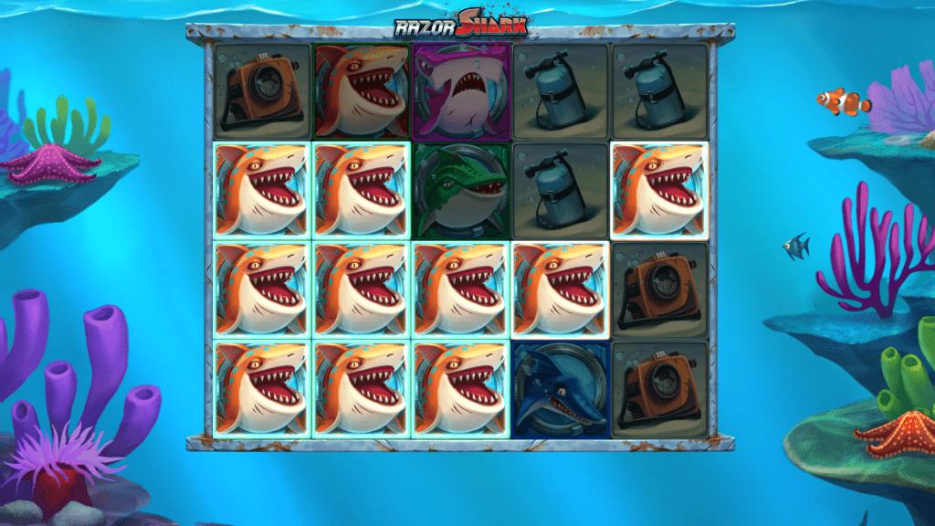 Mystery Stacks open and reveal symbols razor shark