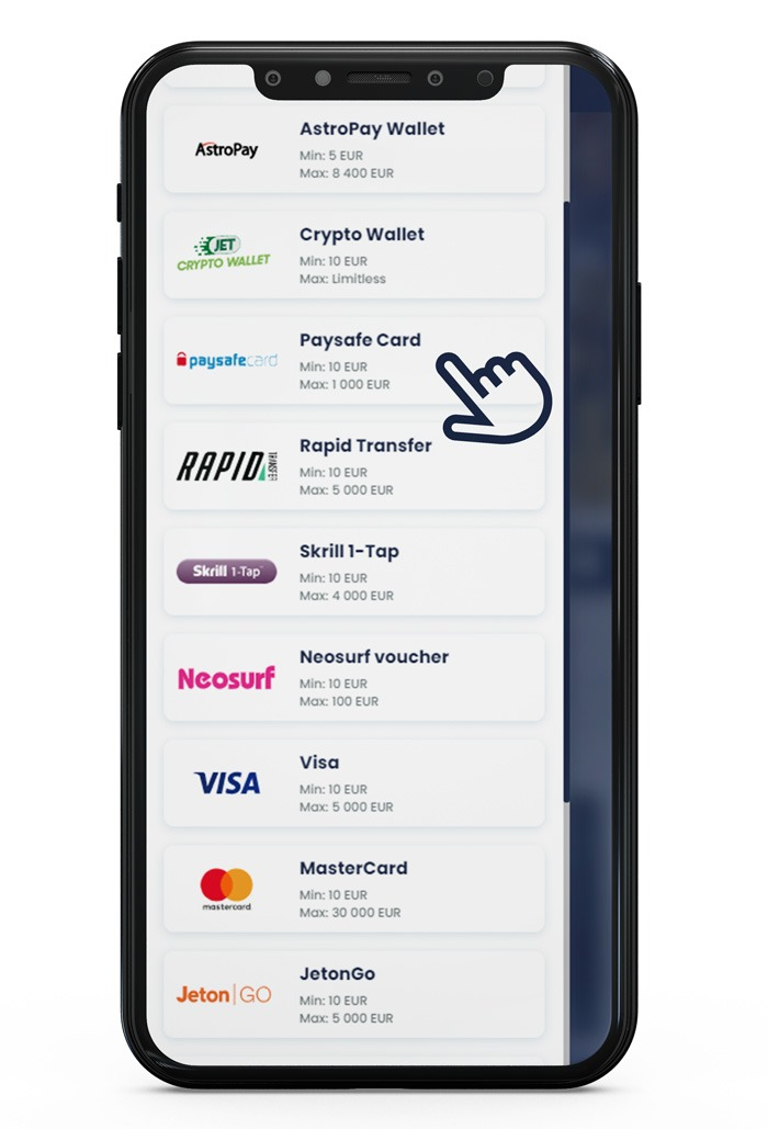 depositing with Paysafecard at Lilibet Step 2