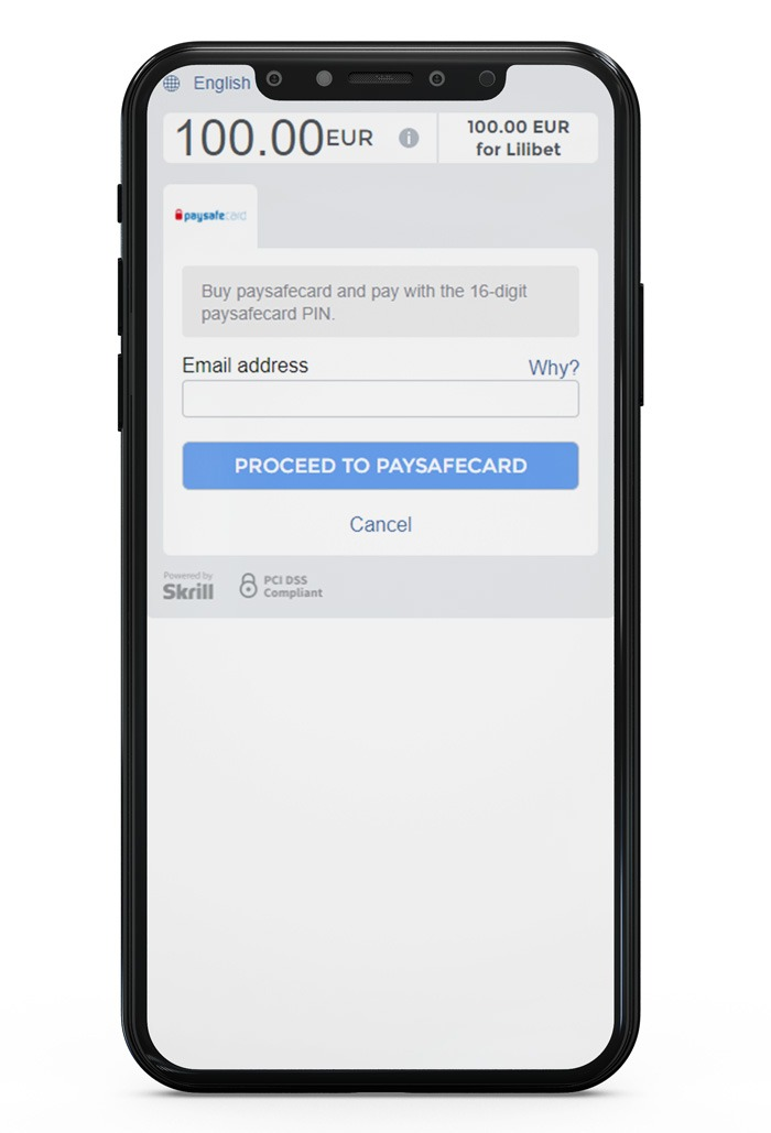 depositing with Paysafecard at Lilibet Step 5